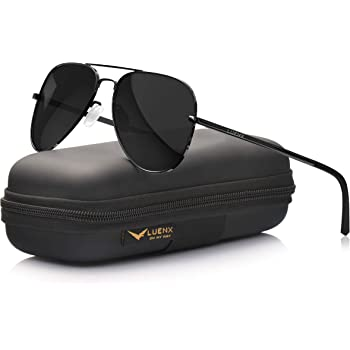 LUENX Aviator Sunglasses for Men Women Polarized UV 400 Protection with case 60MM