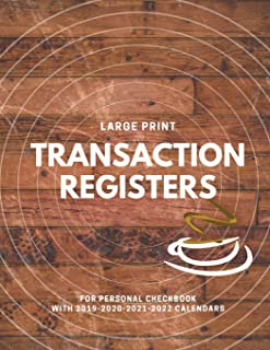 Transaction Registers For Personal Checkbook with 2019-2020-2021-2022 Calendar: Checking Account Transaction Register; 6 Column Payment Record, Record ... Personal Checking Account Balance Register