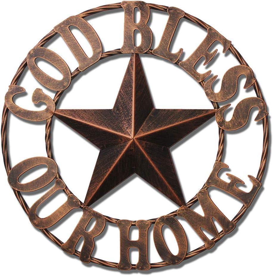 Texas Metal Barn Star Vintage Country Western Home Decor God Ble