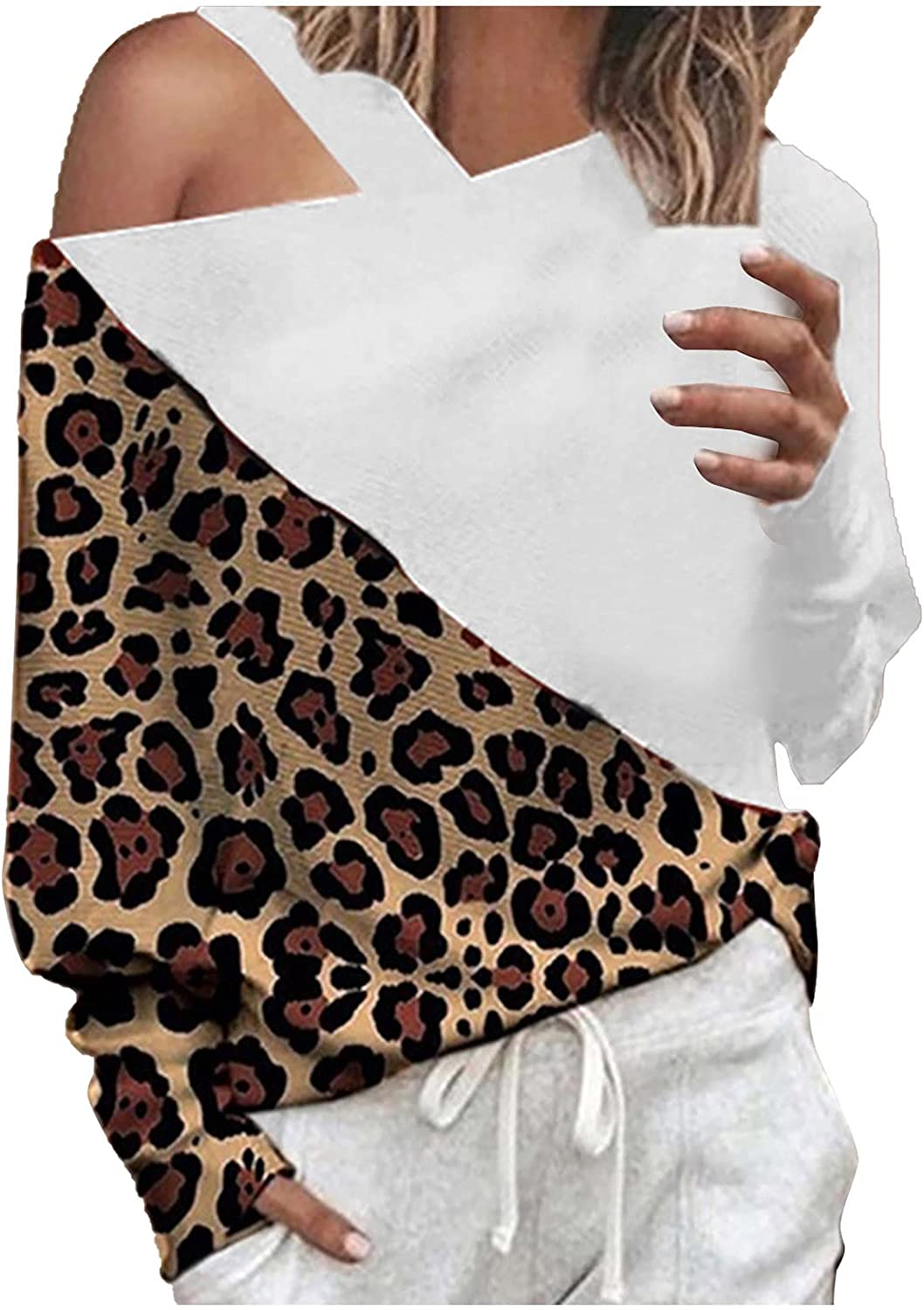 Free shipping New Women's Cold Shoulder Blouses Leopard Long Sl San Diego Mall Patchwork Sexy Top