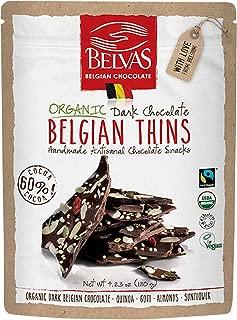 Belvas Belgian Thins Organic Dark Chocolate with Quinoa and Goji, 4.23 oz
