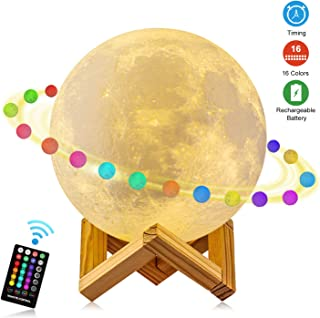 Moon Lamp, GDPETS 3D Printing 5.9 Inch 16 Colors Moon Light with Stand & Remote &Touch Control and USB Rechargeable Decorative Luna Lamp for Baby Kids Birthday Party Christmas Gifts (5.9 Inches)