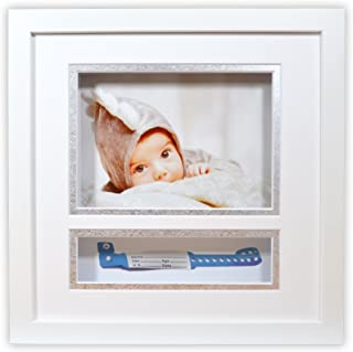 Golden State Art, Baby Frames Collection, 10x10-inch Baby Shadow Box Frame with White/Silver Double Mat and with ID Band Insert, White