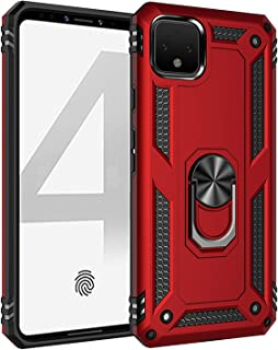 Amosry Compatible with Google Pixel 4 XL Case, Dual Layer Armor Military Grade Phone Cover Case with Ring Magnetic Car Mount Kickstand for Pixel 4 XL (Red)