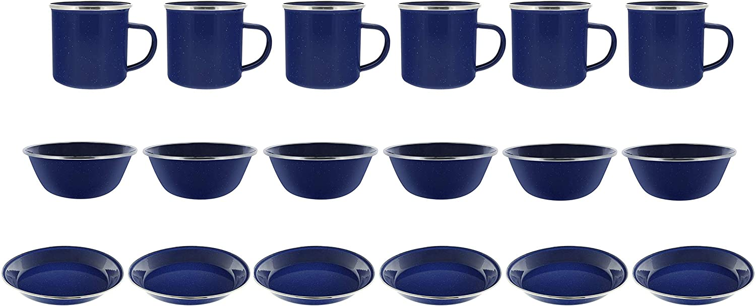 Direct 2 Boater Camping Dinnerware 6Person Set, 18 Items  6 ea of 24 oz Mugs, 6  Bowls & 10  Plates Metal w blueee Enamel Finish