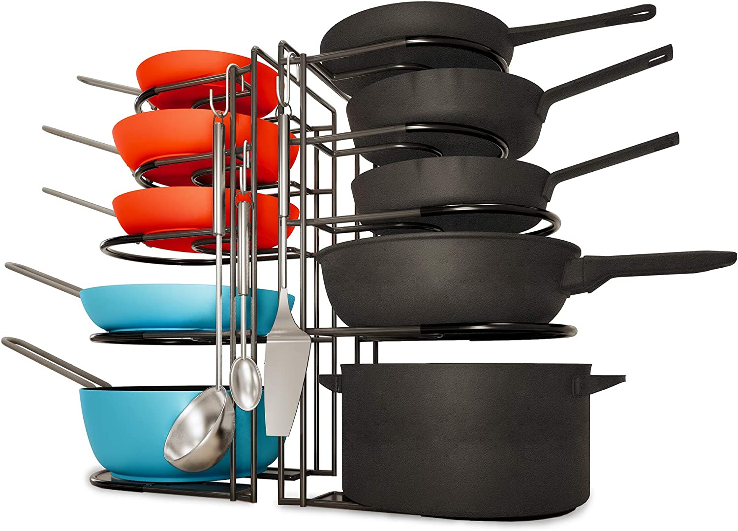 Heavy Ranking TOP14 Duty Pan Organizer 5 Tier Rack S Max 82% OFF Holds Cast of 2 Pack Iron