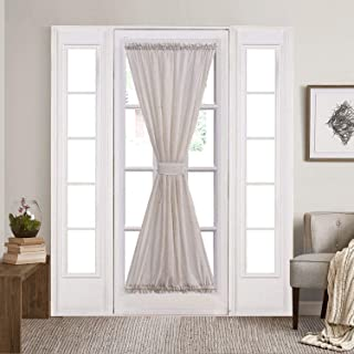 Home Brilliant White French Door Curtain Panels Window Drapery for Front Door, Rod Pocket with Tie Back, Set of 2, 54 x 72 inch