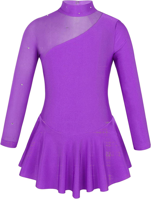 Loloda Girls' Long Sleeve Mock Neck Ranking integrated 1st place Ic Dance Ballet Figure Dress 1 year warranty