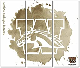 Victory Tailgate Western Michigan University Broncos Triptych Canvas Wall Art Watercolor (48x54 inches)