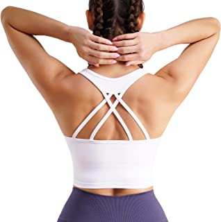 TrainingGirl Women Strappy Racerback Yoga Sports Bra Longline Crop Top Camisole Wirefree Pads Medium Impact Workout Bras