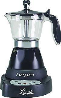Beper - Lucilla Cafetera Eléctrica de Aluminio Programable de 3 Tazas, Temporizador, Café Caliente durante 30 minutos, Pro...