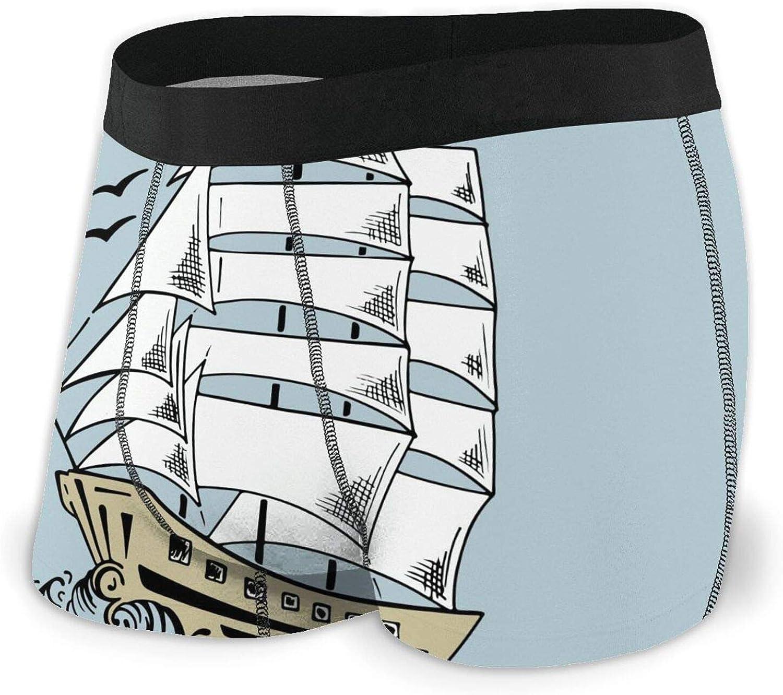 TZT Sailboat Sketch Men's Boxer Year-end annual account Max 48% OFF Un Comfortable Briefs Breathable