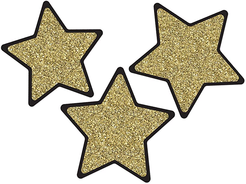 Sparkle and Shine Solid Gold Glitter Stars Cut-Outs