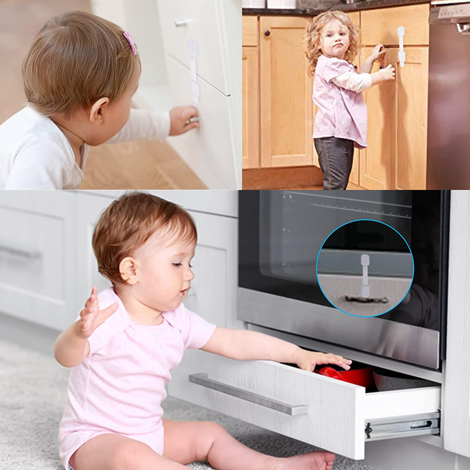 6 Pack - Baby Safety Cabinet Locks - Baby Proofing Cabinet Lock Toilet Locks Child Safety - Сhild Safety Locks for Drawers