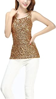 Ladies Glitter Sparkle Sequin Paillettes Evening Wear Tank Tops Shirts