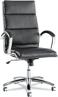 Alera Neratoli Series High-Back Swivel/Tilt Chair, Black Leather, Chrome Frame