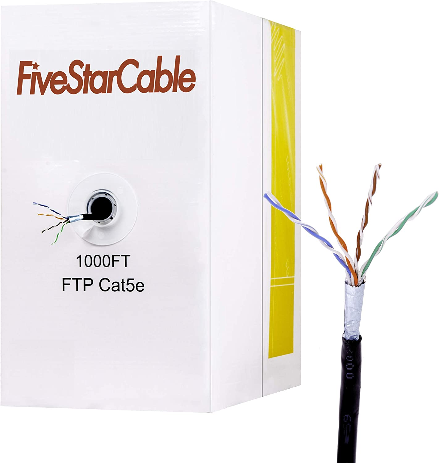 Popular brand in the world FiveStarCable 1000Ft Rapid rise Cat5e FTP Outdoor Solid Shielded Bare 24AWG