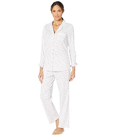 Eileen West Cotton Peached Jersey Knit Notch Collar Pajama Set (White Ground/Multi Berries) Women