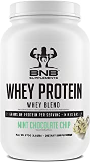 BNB 100% Whey Protein - Mint Chocolate Chip Flavor - 21g of Protein per Serving - 30 Servings - Mixes Easily - Delicious Protein Recovery Shake - by BNB Supplements