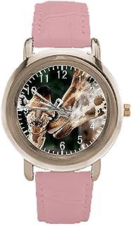 Loving Giraffes Womens Pink Leather Wrist Watch