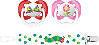 "Dr. Brown's Dr. Brown's Eric Carle""The Very Hungry Caterpillar"" Advantage Pacifiers with Clip 2 Piece Set, Stage 1 (0-6m), Butterfly & Flower"