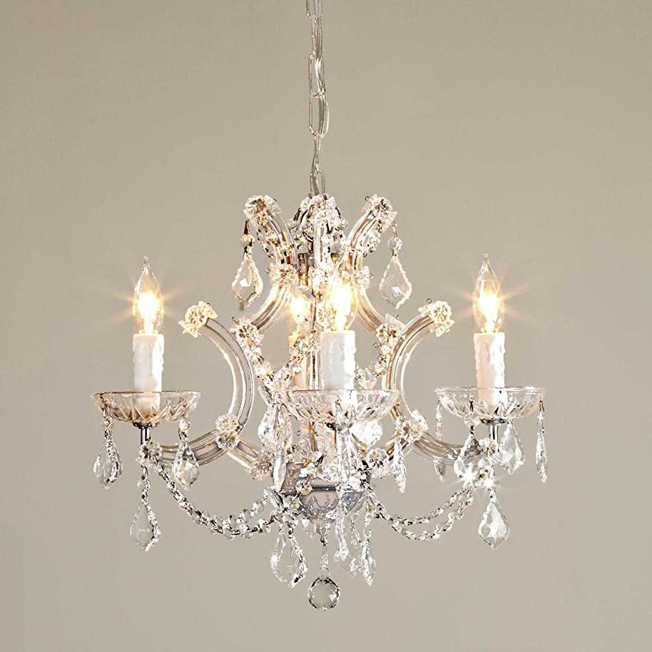 """Saint Mossi Crystal Maria Therese Chandelier Lighting 4 Lights H17"""" W18"""