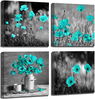 Flower Wall Decor Teal Poppy Wall Art Flower Wall Pictures for Bedroom Wall Decor 4 Piece Black and White Teal Framed Wall Art for Women Kitchen Wall Decor Room Decorations Painting Canvas Art Prints