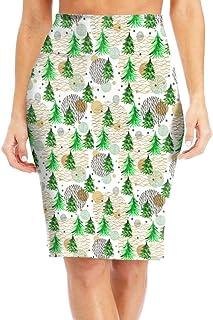 Women's Midi High Waist Skirt Fashion Pencil Skirt Knee Skirts for Office Wear Hedgehog Animal Pattern
