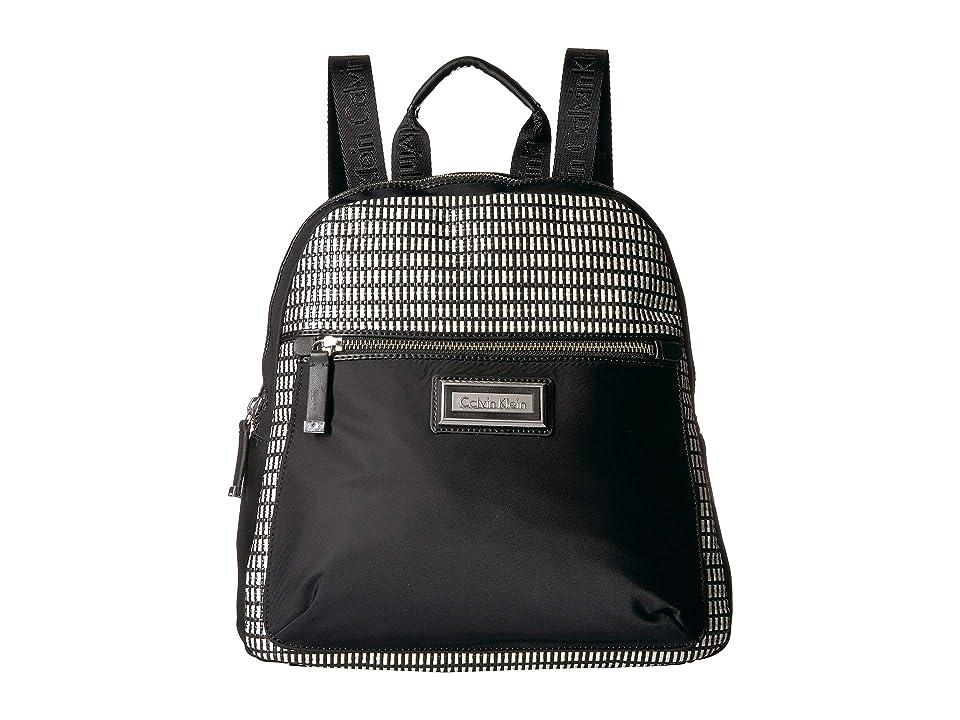 Calvin Klein Belfast Nylon Raffia Backpack (White/Black) Backpack Bags