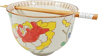 Ebros Japanese Design Ceramic Ramen Udong Noodles Bowl and Chopsticks Set for Asian Dining Soup Rice Gourmet Meal As Taste of Asia Collection of Bowls Decor Kitchen Decorative (Spring Blossom)