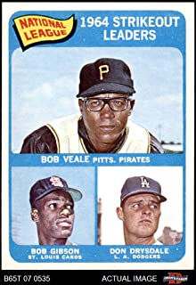 1965 Topps # 12 NL Strikeout Leaders Don Drysdale/Bob Gibson/Bob Veale Dodgers/Cardinals/Pirates (Baseball Card) Dean's Cards 7.5 - NM+ Dodgers/Cardinals/Pirates