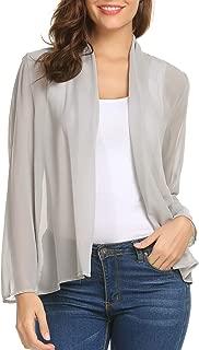 Women's Sheer Chiffon Kimono Cardigan Long Sleeve Open Front Loose Cover Up S-XXL
