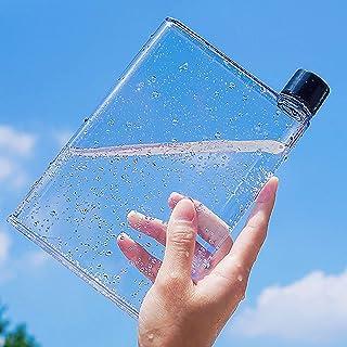 Gelible Clear Reusable Slim Flat Water Bottle 420ml Portable - Fits in Pocket &Random Corner.for School,Sports, Travel, Di...