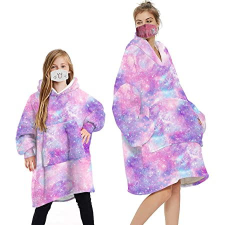 Geagodelia Oversized Hoodie Blanket Fluffy Fleece Blanket Hoodie for Men Women Kids Hooded Blanket with Big Front Pocket Family Matching