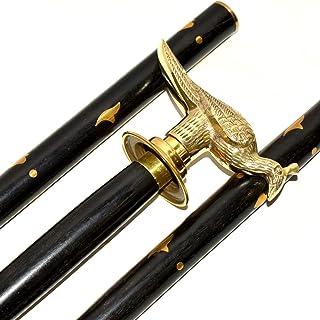 Eve Store Nauticals Classic Shaped Brass Fish Handvat met Bloemenpatroon & Afgewerkt – Zwarte wandelstokken