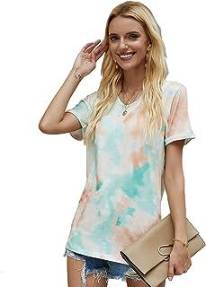 Womens Tie Dye T-Shirt Printed V-Neck Short Sleeve Casual Tops