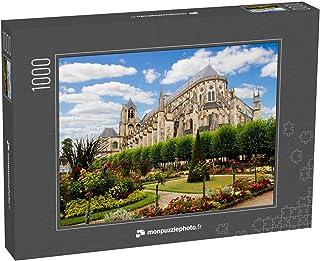monpuzzlephoto Puzzle 1000 pièces Cathédrale de Bourges, Beau Jardin, France - Puzzles Classiques dans Une boîte Noble ave...