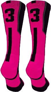 TCK Player Id Black/Neon Pink Custom Jersey Number Crew Socks (Pair)