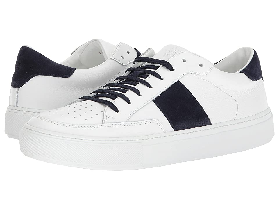 eleventy Suede Side Band Sneaker (White/Navy) Men