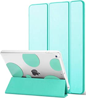 Dailylux New iPad 9.7 inch 2018/2017 Case,Slim Smart Folio Stand Transparent PC Back Shockproof TPU Bumper Edge Corner Protection Auto Wake Sleep Function Bubble Cover for iPad 9.7 inch-Mint Green
