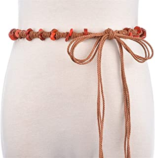 JJXSHLFL New Ethnic Wind Wax Rope Belt Waist Chain Accessory Dress Handmade Group Belt (Color : Orange, Size : 160cm)