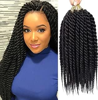 6 Packs 18 inch Havana Mambo Twist Crochet Braids Senegalese Twist Crochet Hair Synthetic Braiding Hair Extensions (18INCH, 1B)