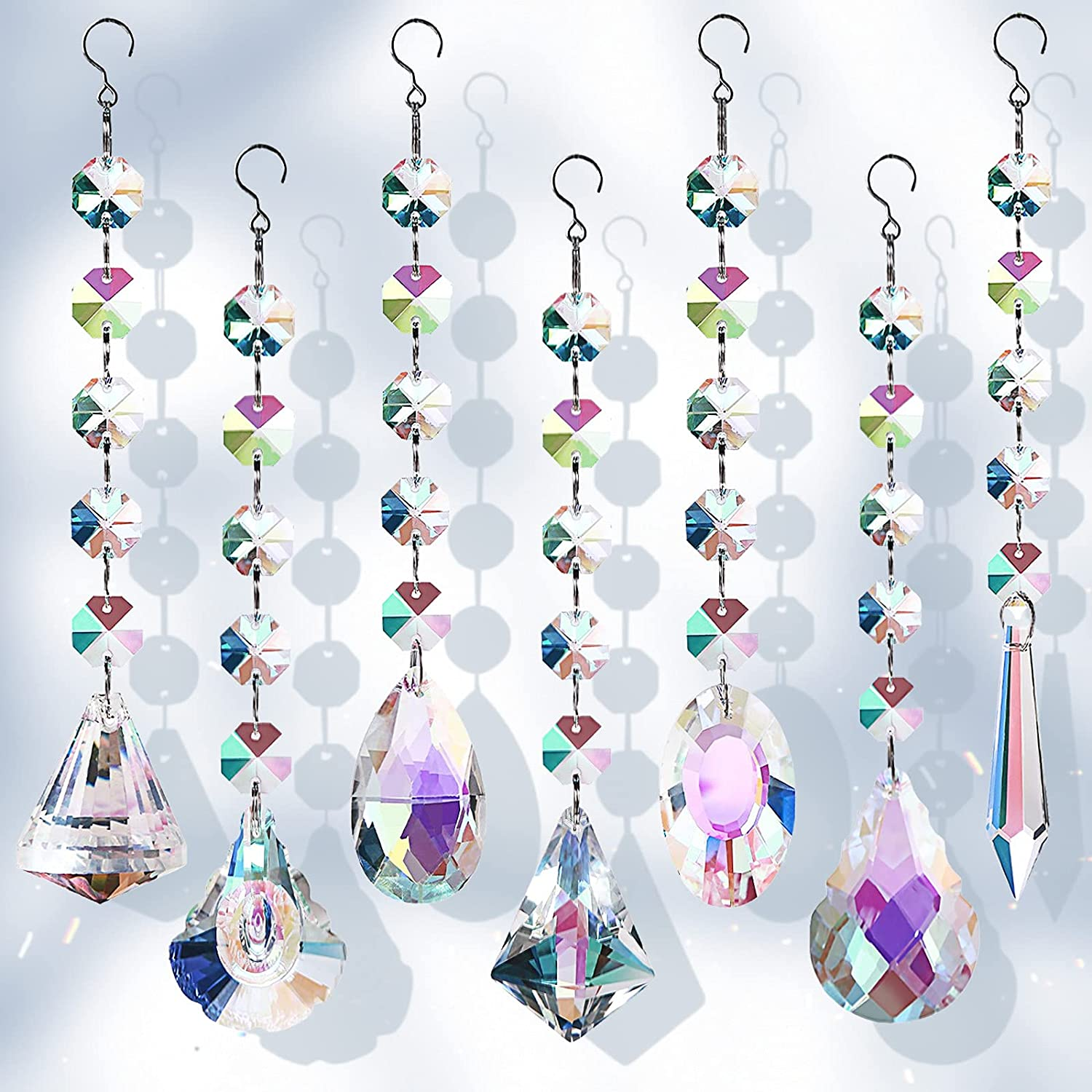 Bronlama Sun Catchers with Crystals, 7 Pcs Hanging Crystals Suncatchers for Windows, Colored Crystals Prisms Glass Pendant Suncatchers Beads for Chandeliers, Garden, Christmas Tree Decoration