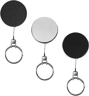 Karteo® Porte-badge rétractable a enrouleur Cle Porte Cles lisse noir Heavy Duty câble en acier pour porte-badge porte-car...