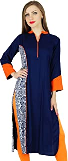 Women Blue Chic Style Tunic Indian Kurta Kurti Boho Collar Neck Blouse