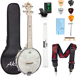 AKLOT Banjo Ukulele Concert 23 inch Remo Drumhead Open Back Maple Body 1:18 Advanced Tuner with Tow Way Truss Rod Gig Bag ...