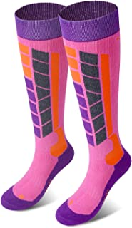 Winter Ski Socks Snowboard Snow Warm Knee Over The Calf OTC High Performance 2 Pairs for Kids Womens Mens