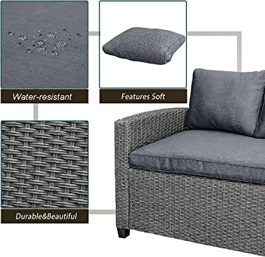 LZ LEISURE ZONE Patio Furniture Sets, Outdoor Patio Dining Table Set, PE Rattan Wicker Conversation Set, All-Weather Sectiona