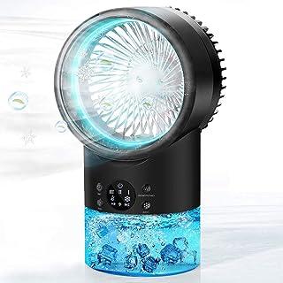 Climatiseur Mobile, Mini Refroidisseur d'air Avec Veilleuse 7 Couleurs, Personnel Ventilateur de Bureau Silencieux, Humidi...