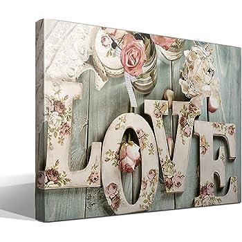 cuadrosfamosos.es Canvas Lienzo Bastidor Love Estilo Vintage - 95 cm x 70 cm - Fabricado en España: Amazon.es: Hogar